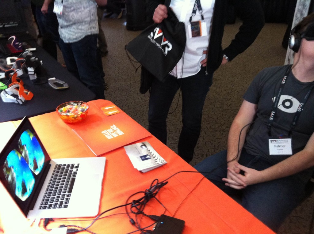 Oculus' CEO Palmer Freeman tries Cubicle Ninjas' Guided Meditation demo at SVVR